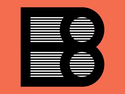 36 days of type B alphabet b logo orange graphics illustrator design lettering retro thick lines lines font type typography