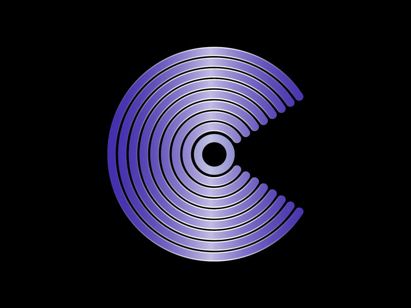 36 days of type C illustrator shape circle simple icon logo graphics design shine font gradient purple c spin letter lettering type typography