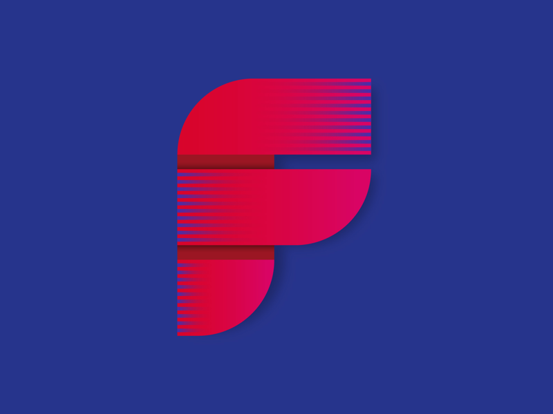 36 days of type F illustrator design shadow red blue texture soft simple mark logo shapes gradient curves lines streak letter typography type