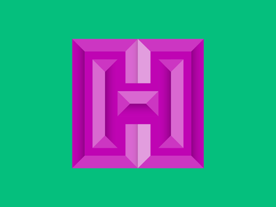 36 days of type H custom letter illustrator layer shape green pink gradient block bevel symbol lettering typography type