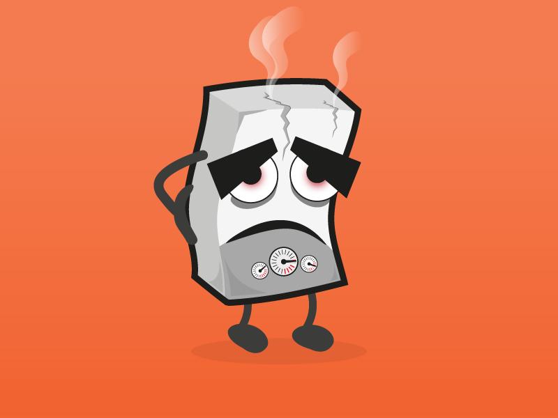 Broken Boiler illustration sick miserable broken heat character boiler illustration