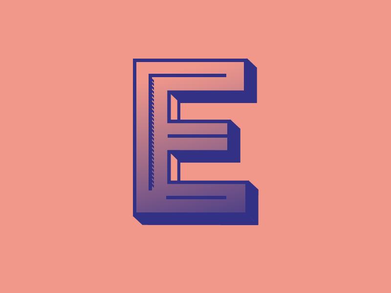 #Typehue Week 5: E typography 3d duotone