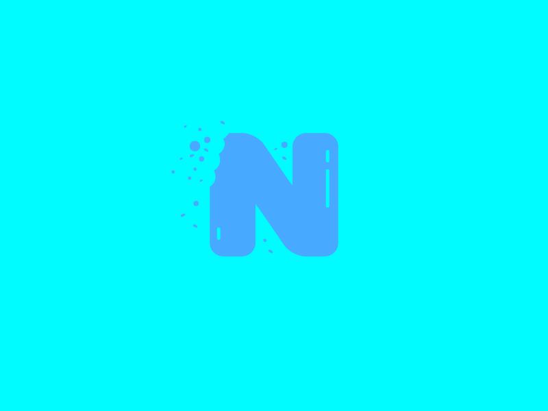 #Typehue Week 14: N crumbs simple flat eat chomp bite nibble food soft blue letter typography