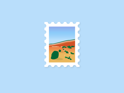 Seaside Stamp holiday vacation flat post illustration stamp travel cliffs sand sea sun beach