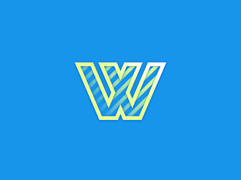 #Typehue Week 23: W duotone stripes sharp gradient bright lettering icon logo typography