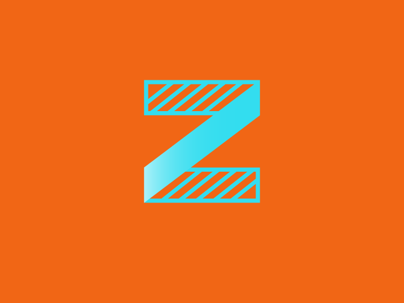 #Typehue Week 26: Z bright diagonal stripe icon logo duotone lettering alphabet