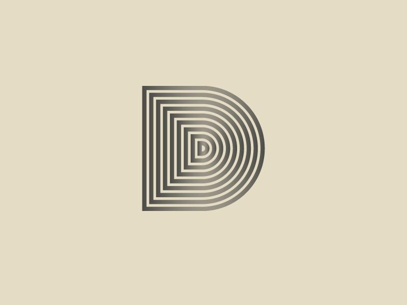 #Typehue Week 4: D illustration design alphabet gradient simple pattern lines logo lettering typography