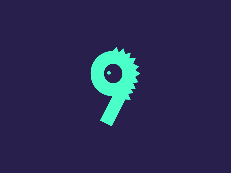 #Typehue Week 36: 9 lettering spike cute simple illustration character dinosaur creature monster icon bright numbers