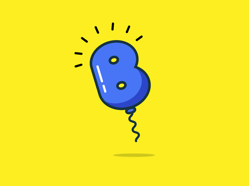 B float simple colourful bold bright light balloon lettering typography 36daysoftype