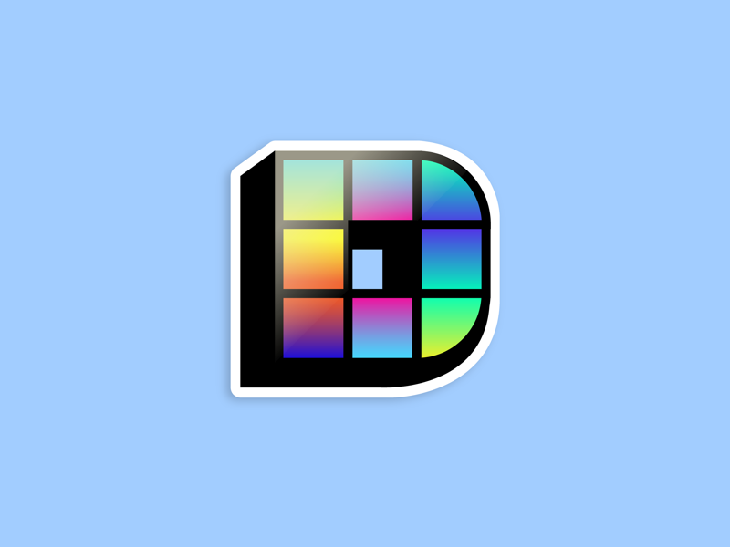 D logo icon sticker bright gradients disco lettering typography