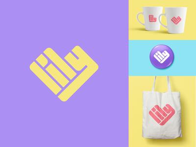Lily rebrand fun identity minimal lettering typography bright icon flat heart simple rebrand logo