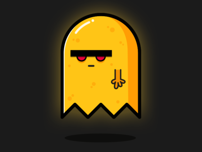 Grumpy ghost design scary simple cute spooky character ghost vector illustration animation gif