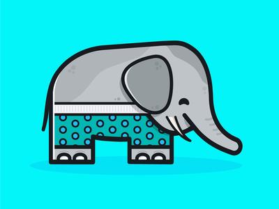 Elephant trunks flat happy icon sports design cute swimming illustrator simple bright character illustration