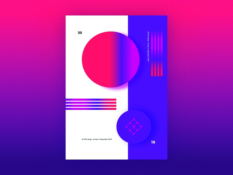 Abstract poster play pink futura typography wall art poster art shapes gradient bright abstract design illustration simple