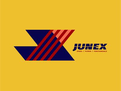 Race Team Logo - Junex identity speed typography symbol icon mark lettering gaming logo flat playstation design company brand