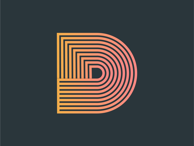 D - 36 days of type lines vector typography type shading lettering illustration gradient font custom colourful character orange