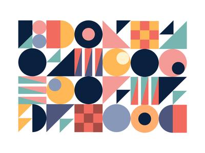 Pattern vector flat geometric art style symbol retro movement shapes illustrator repeat pattern