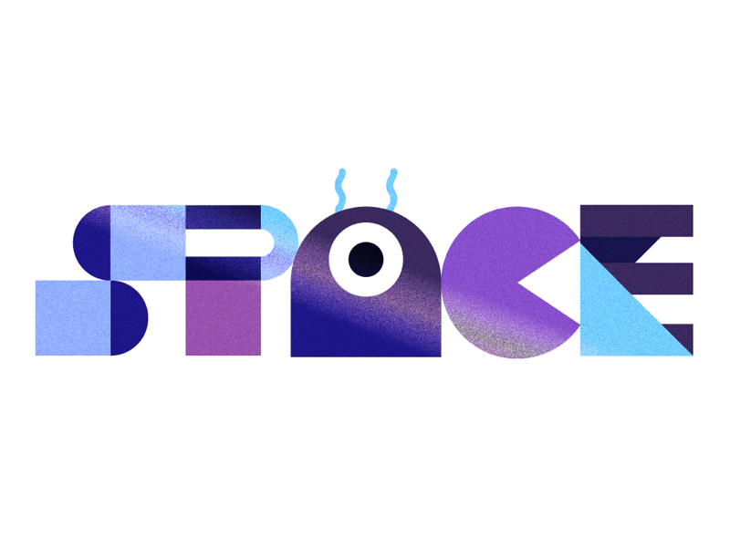 Space cute texture retro illustration word letters gradient grain fun alien space font shapes geometric lettering type typography