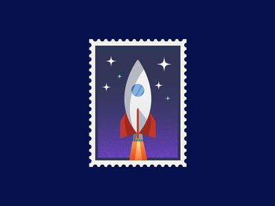 Rocket Stamp poster dribbbleweeklywarmup art speed night fly stamp design drawing starship stars moon travel space rocket post stamp vector design illustration simple