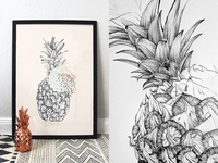 Graphic pineapple pencil illustration