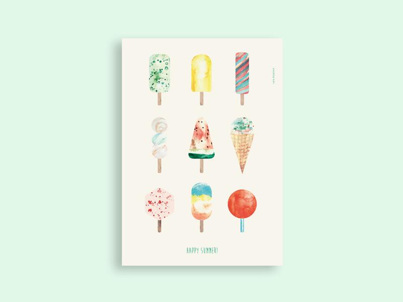 Icecream print summer ice aquarelle pastell watermelon waffel mint artprint poster illustration handdrawn icecream
