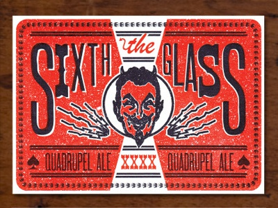 The Sixth Glass letterpress design postcard