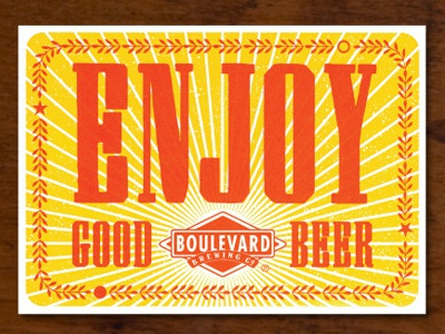 Enjoy Good Beer letterpress design postcard