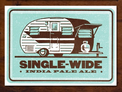 Single Wide IPA letterpress design postcard
