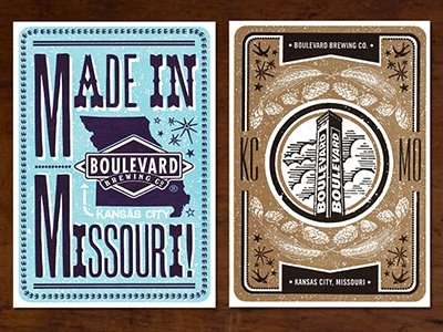Made in Missouri / KCMO letterpress design postcard