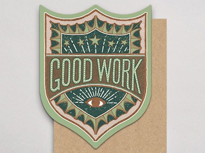 Good Work handlettered letterpress badge card