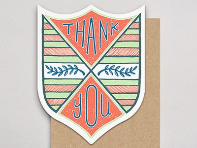 Thank You Badge handlettered letterpress badge card