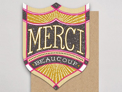 Merci handlettered letterpress badge card