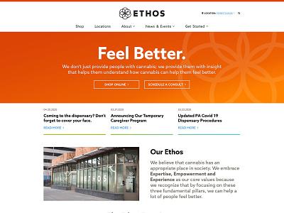 Ethos Cannabis Website dispensary gradient identity case study wireframes wayfinding marketing branding animation development startup web design ux ui digital collaboration iconography medical cannabis interactive