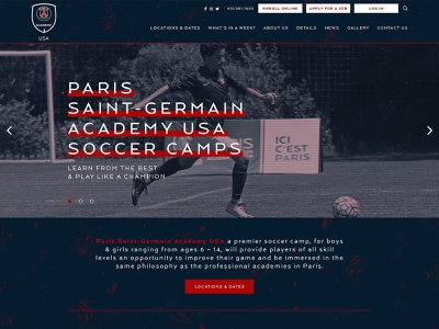 PSG Academy Soccer Camps Website sports website map functionality identity sitemap camp summer community development web design wireframes ux ui digital collaboration education interactive