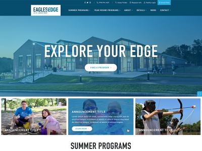 Eagles Edge Website education interactive video academic enrichment summer camp program finder functionality ui ux collaboration digital web design community wireframes development sitemap wordpress navigation