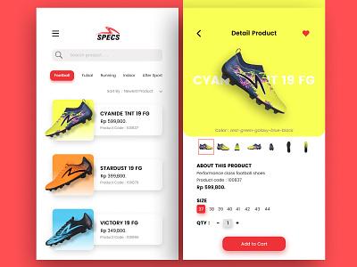 Specs Sport Center UI Kit ios app android app adobe shoes sports app sports football sketch invision studio invision figma ui design uiux mobile app mobile ui mobile app ux ui design