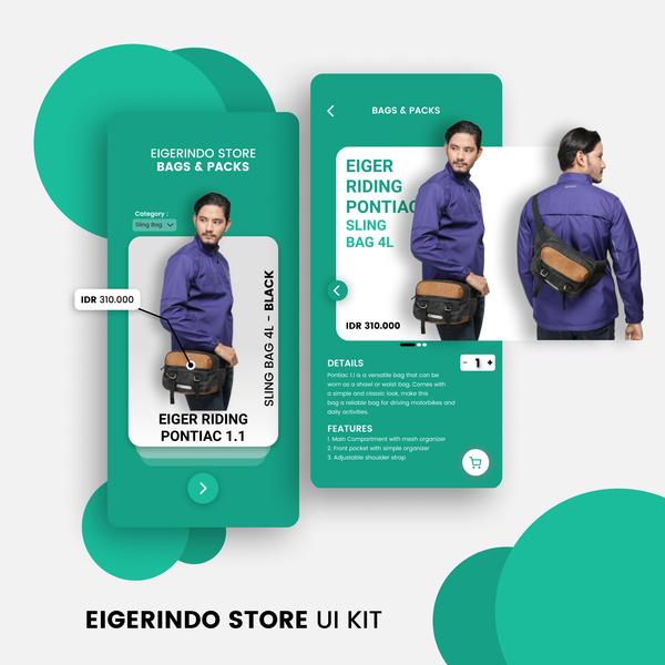 Eigerindo Store Bags and Packs UI Kit app invision ux uiux ios app ui design ui sketch mobile ui mobile app invision studio figma design android app adobe