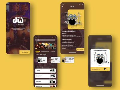 Drum Showroom UI Kit ux design uxdesign drummer drums mobile invision ux uiux ui design ui sketch mobile ui mobile app ios app invision studio figma app design adobe android app