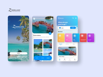 Traveling App Sribuland indonesia island ocean blue clean traveling travel adobe xd app ios app ux figma uiux ui design ui mobile ui mobile app design adventure