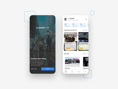 Looking For App - Mobile UI Design explore looking blue location place around map illustration android app ios app mobile ui ui design mobile app ux ui uiux design