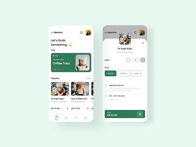 Coffee App - UI Exploration designs drink homepage order buy kopi green coffee cup coffee dribbble android app ios app mobile ui ui design figma mobile app ux ui uiux design
