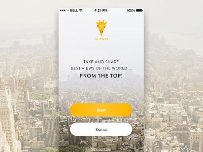 Intro App giraffe app ios 8 rooftop ui iphone user interface yellow application