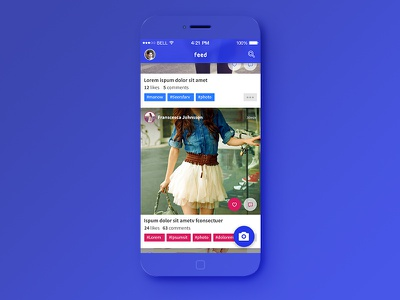 Mobile Photo Feed user interface ui application blue material minimalist mobile