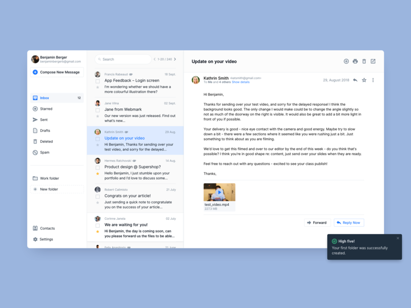 Email Client desktop user interface growth minimal app ui  ux ux ui email