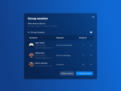 Group Session Modal add desktop gradient font semi-flat table modal ui ux design uidesign
