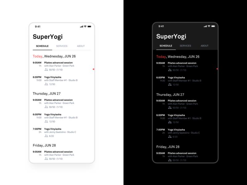Schedule ux mobile minimal user interface dark ui app ios