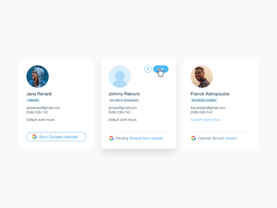 User card ux ui card design profile hover role permissions user interface card
