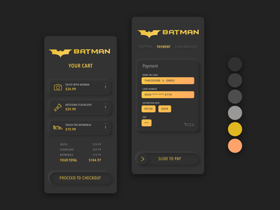 Batman s Freelance App credit card checkout typography logo dailyui illustration design freelance designer dark ui batman neumorphism dailyui002 ui illustrator vector illustration