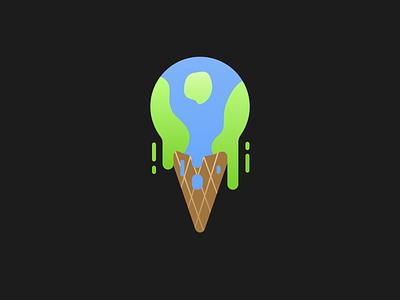 Melt earthy icecream globe global logo illustrator design illustration design earthday sketch illustration global warming earth