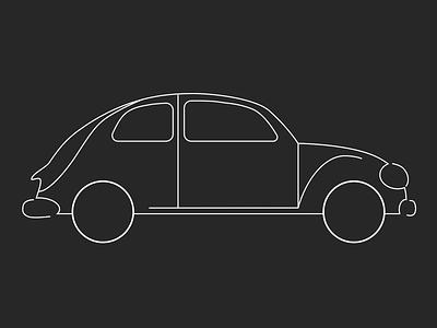 VW Beetle Outline car design car vintage outlined outline outlines herbie beetle volkswagen vw illustration design vector sketch design illustrator illustration